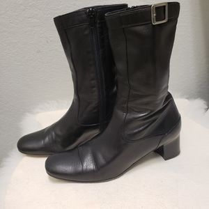 Cole Haan Black Leather Mid high Boots 8B